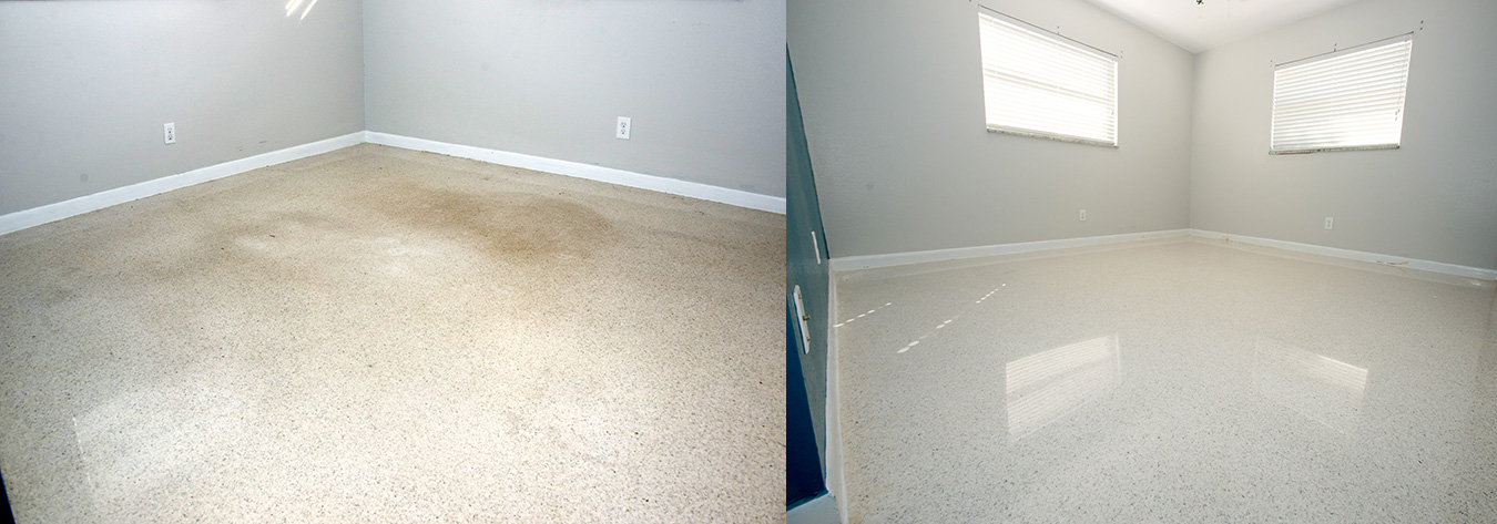 Florida terrazzo floor restoration, polishing, and cleaning.
