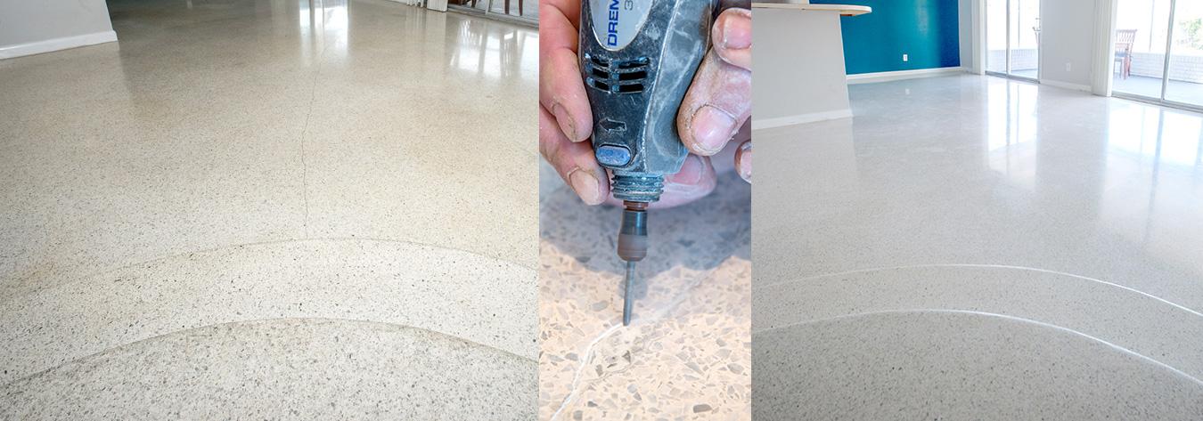 Florida terrazzo floor restoration, repairing a cracked terrazzo floor.