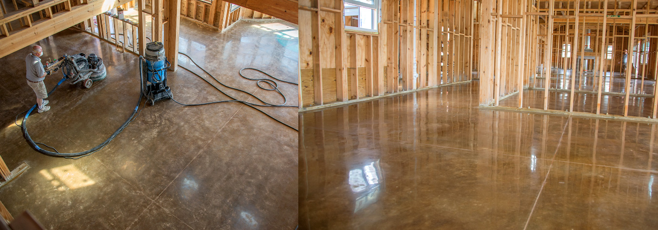 polished concrete flooring custom stained and sealed