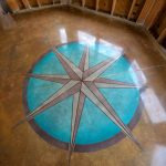 Custom art work polished concrete flooring in Florida.