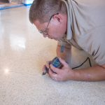 Cleaning and preparing a crack is tedious but quite possibly the most important step in terrazzo floor restoration.