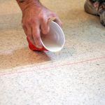 Repairing a cracked terrazzo floor in St Petersburg, Florida.